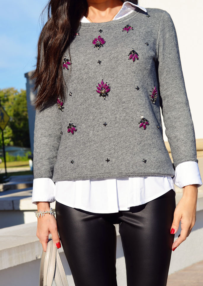 Ann Taylor Loft Jeweled Sweater The Classified Chic