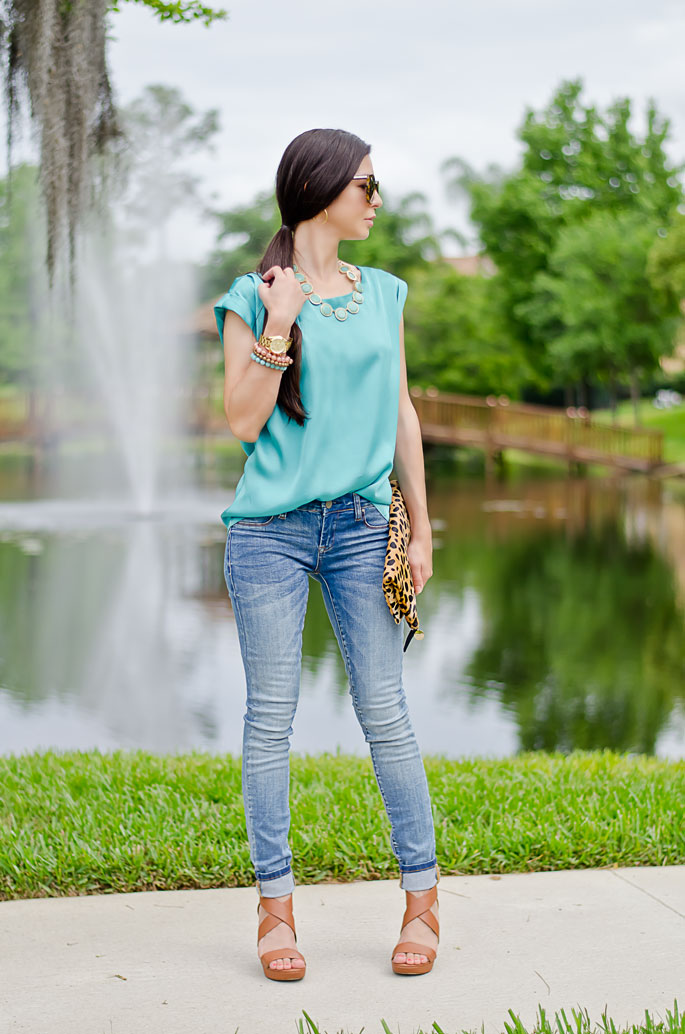 Outfit Of The Day: Leopard Clutch And Turquoise Blouse