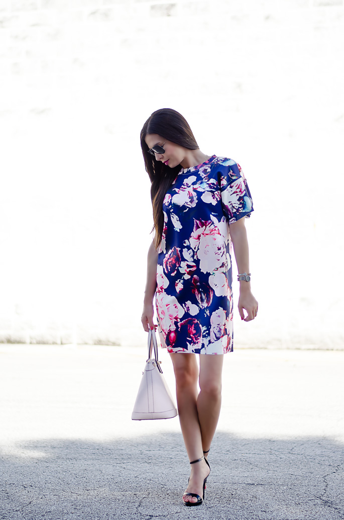 Outfit Of The Day: Blue And Pale Pink Floral Print Dress