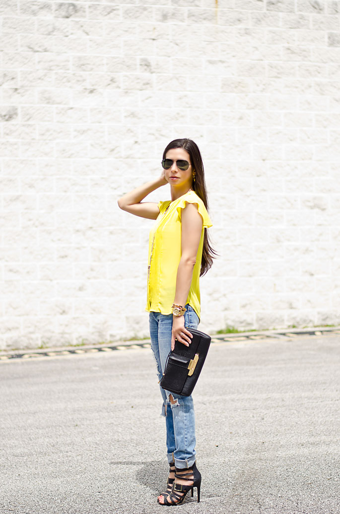 Outfit Of The Day: Yellow Blouse And Ripped Blue Jeans