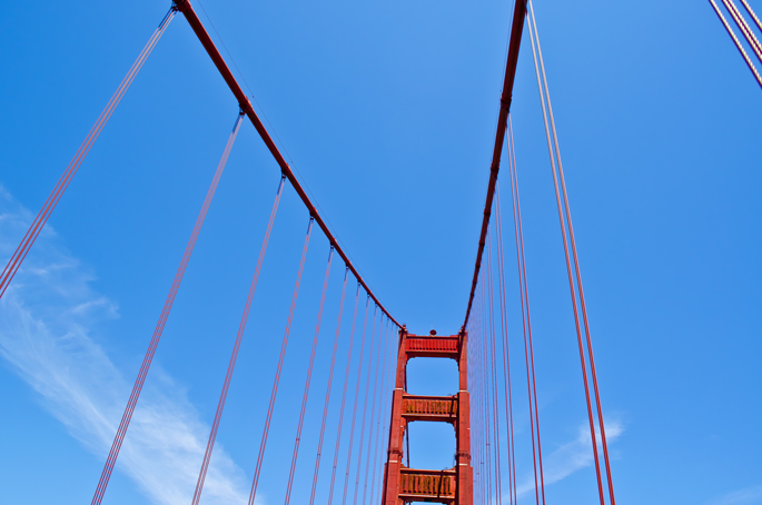 View-Looking-up-at-Golden-Gate-Bridge-while-Driving