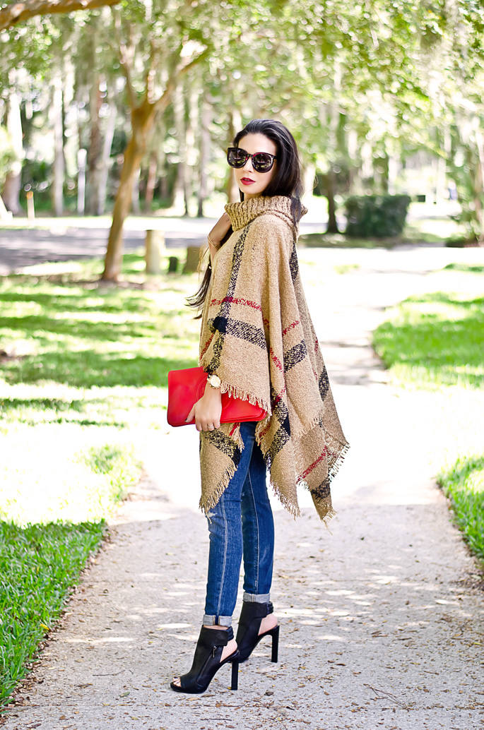 How-to-Wear-a-Poncho-Necessary-Clothing-Camel-Plaid-Poncho-Sweater-and-Tory-Burch-Red-Clutch-1