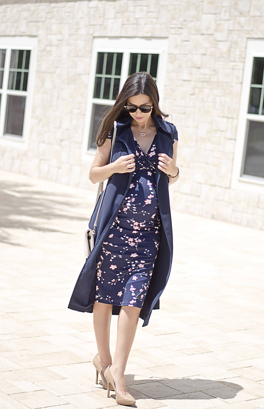 5 Tips to Make a Floral Dress Look Professional, Dorothy Perkins Floral Maternity Dress and Navy Sleeveless Trench Coat - a
