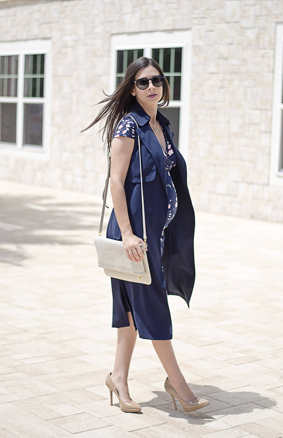 5 Tips to Make a Floral Dress Look Professional, Dorothy Perkins Floral Maternity Dress and Navy Sleeveless Trench Coat - b