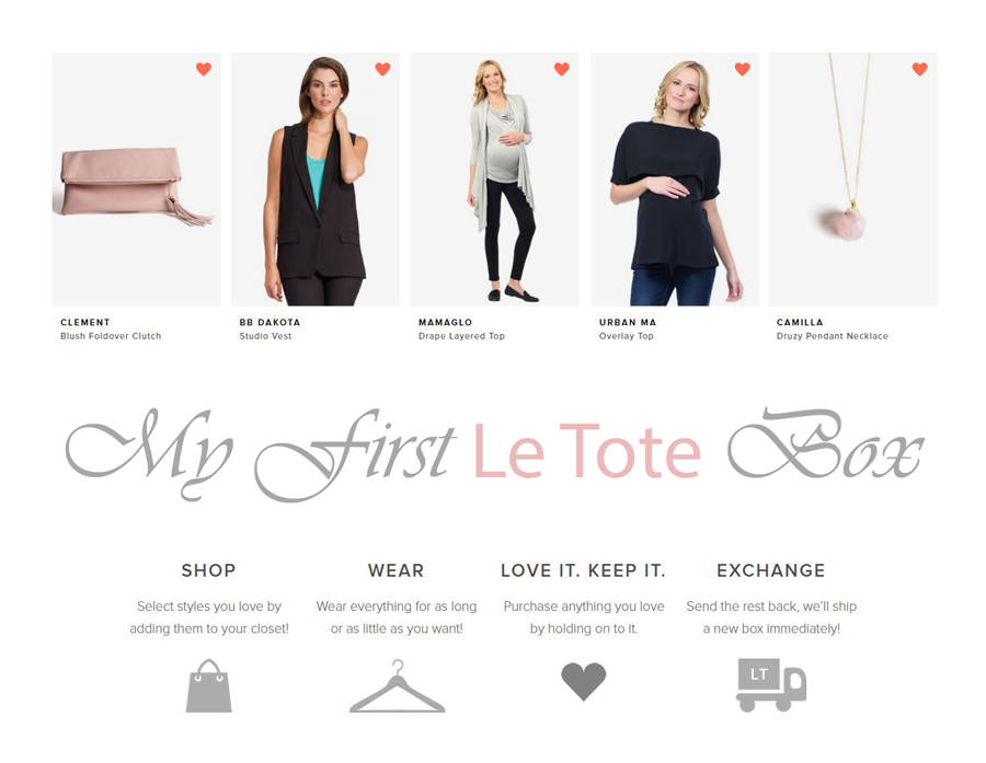 A review of my first Le Tote clothing subscription box. Maternity clothing subscription box review.