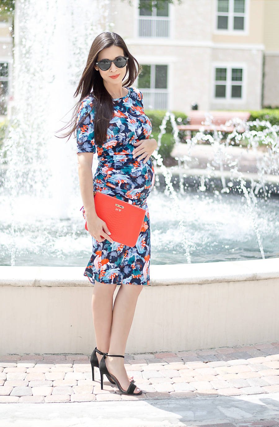 Spring fashion with a pea in the pod the classified chic floral maternity dress from a pea in the pod with a gigi new york clutch ombrellifo Gallery