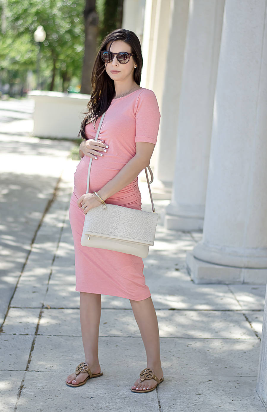 Peach t shirt dress from a pea in the pod isabella oliver dress from a pea in the pod maternity and a gigi new york convertible ombrellifo Images