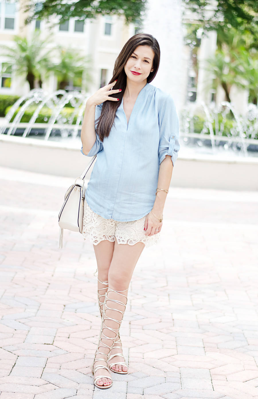 Chambray and Lace, Mossimo Chambray Denim Top, Olian Lace Shorts, Stuart Weitzman Gold Gladiator Sandals, Chloe Hudson Handbag