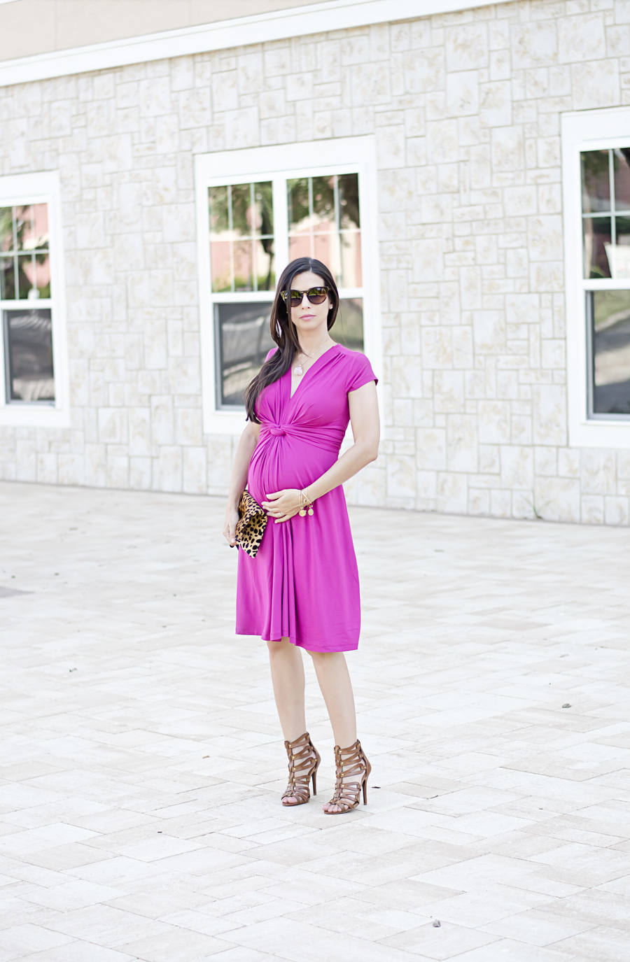 Seraphine maternity pink fuschsia dress