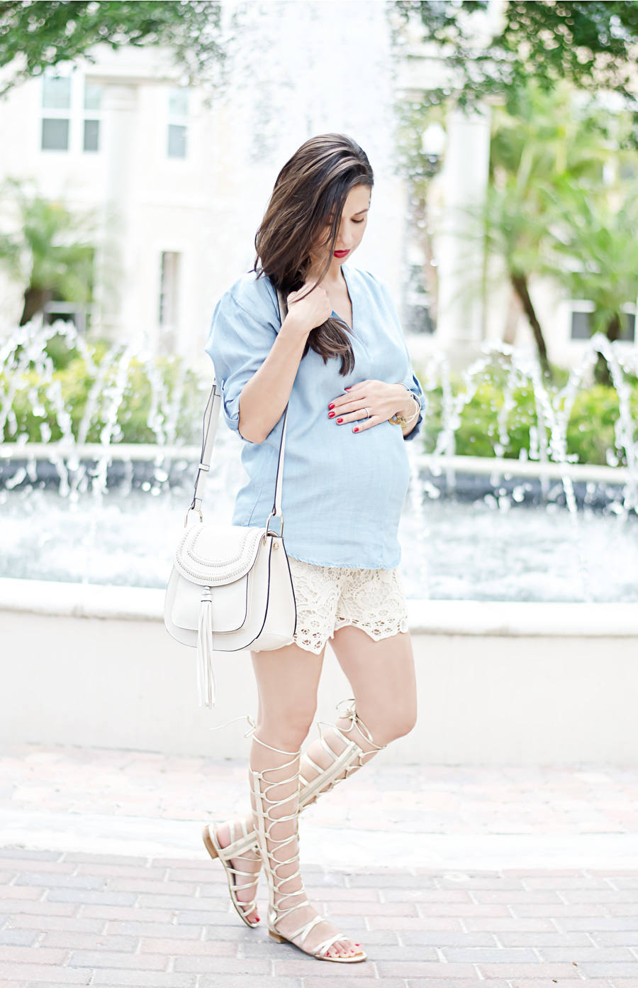Stuart Weitzman Gold Gladiator Sandals, Chloe Hudson Handbag, Chambray and Lace, Mossimo Chambray Denim Top, Olian Lace Shorts
