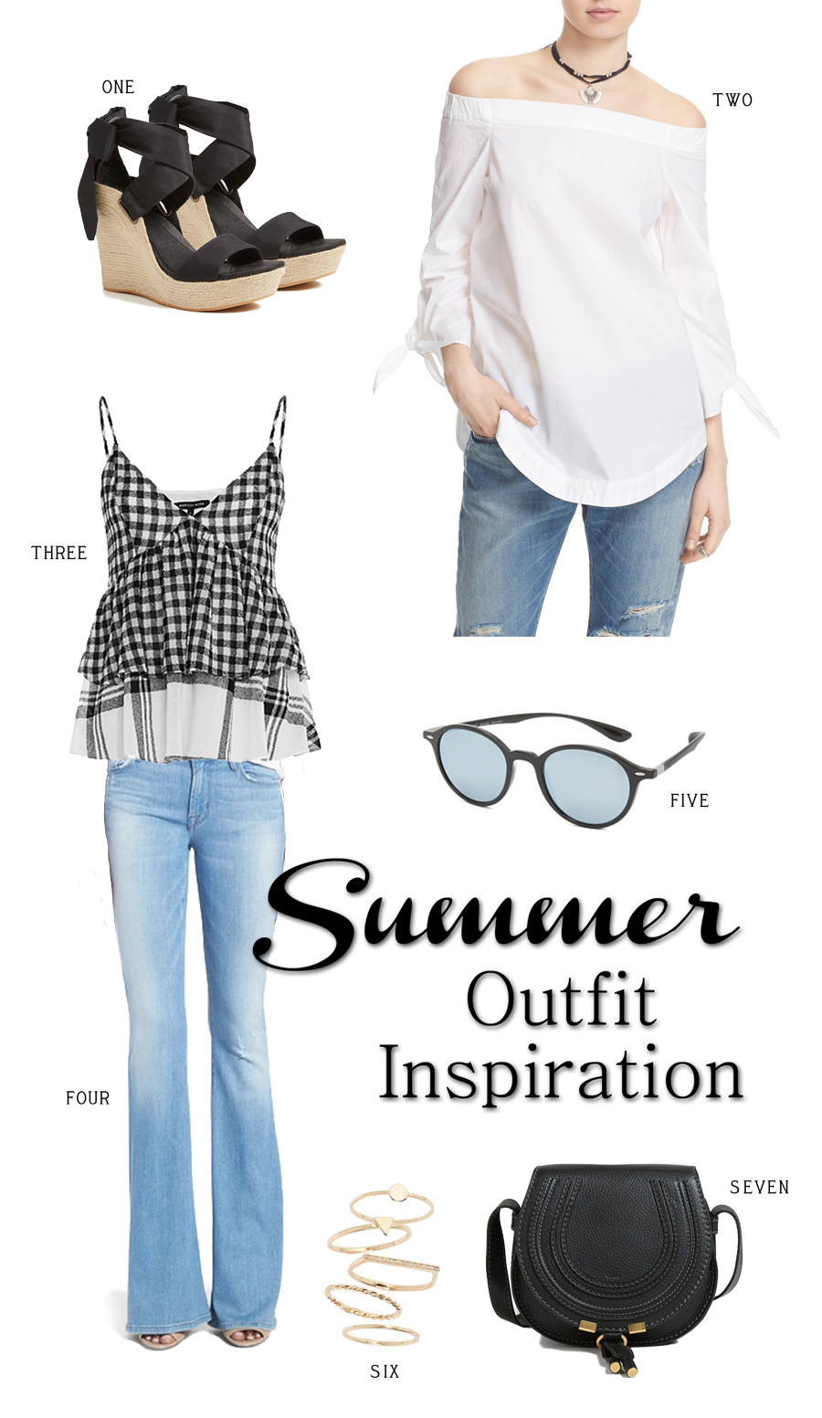 Summer Outfit Inspiration with espadrilles, gingham cami, off the shoulder blouse, ray ban sunglasses, chloe handbag. So cute & perfect! | The Classified Chic
