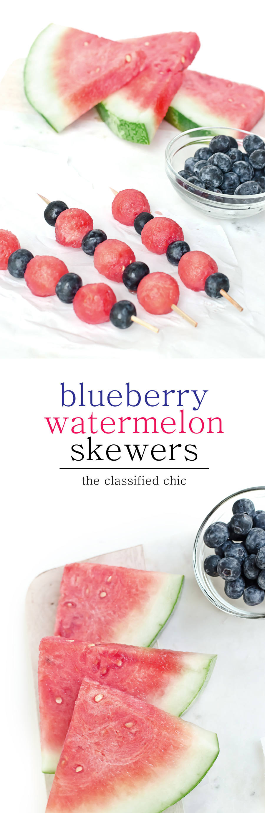 blueberry watermelon skewer recipe - such a simple and refreshing recipe that only takes minutes to make | theclassifiedchic.com