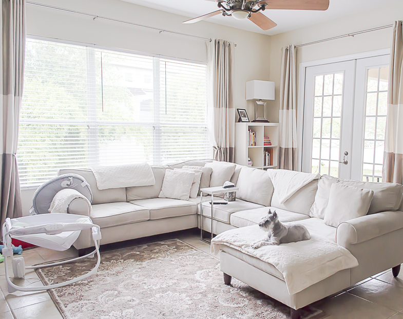 Beautiful Light & Airy Family Room Decor via The Classified Chic Blog